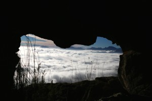Figure 5. The morning coastal fog seen through the 'vensterklip' which can completely envelope the mountain.